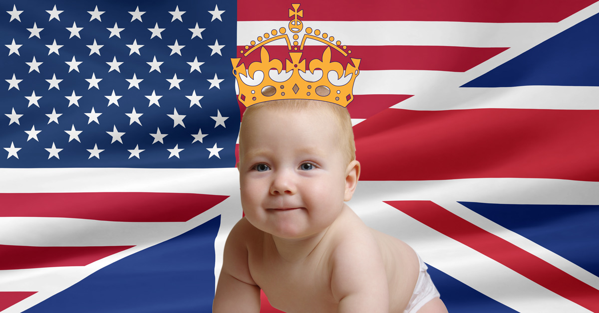 British and American Flags and Royal child - Archie Harrison Mountbatten-Windsor