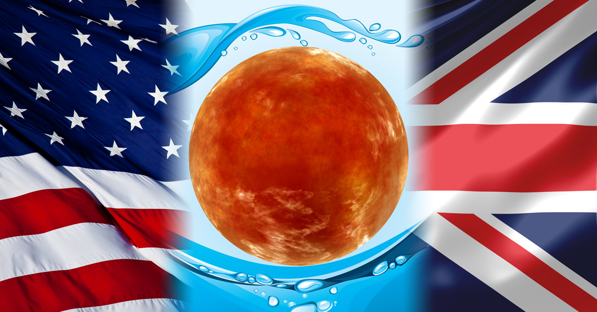 Mars and Water plus US and UK Flags