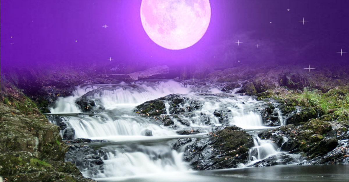 Rhaeadr Nantcol Waterfalls and purple moon